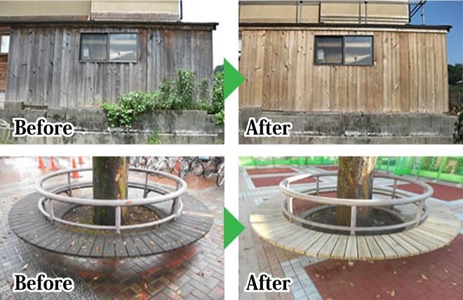 木部洗浄のビフォーアフター写真